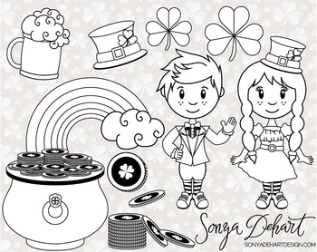 Clip Art: Cute Saint Patrick's Day Line Art Digital Stamp