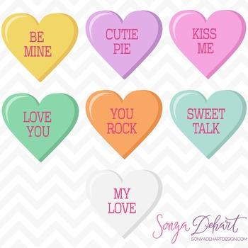 Clip Art: Cute Valentine's Day Conversation Hearts Clip Art