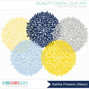 Clipart - Dahlia Flowers - Blue (Navy Blue & Grey)