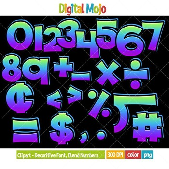 Clipart - Decorative Font, Blend Series 1 Numbers