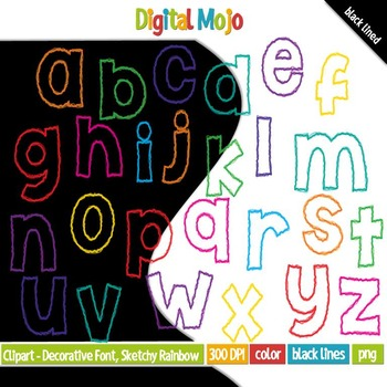 Clipart - Decorative Font, Sketchy Rainbow Lowercase