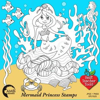 Clipart, Digital Stamp, Mermaid under the Seas,  Black Lin