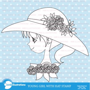 Clipart, Digital Stamp, Young Girl with hat,  Black Line,