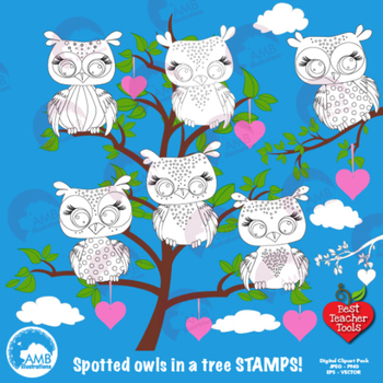 Clipart, Digital Stamps, Owl digital outlines, black line,