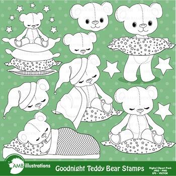 Clipart, Digital Stamps, Teddy bear, nursery,Black Line, o