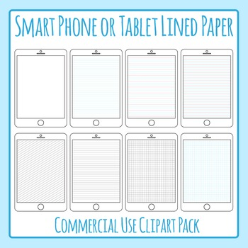 Ipad / Digital Tablet Lined Paper Clip Art Pack for Commer
