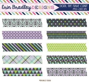 Clipart Digital Washi Tape - Purple Green Blue Charcoal