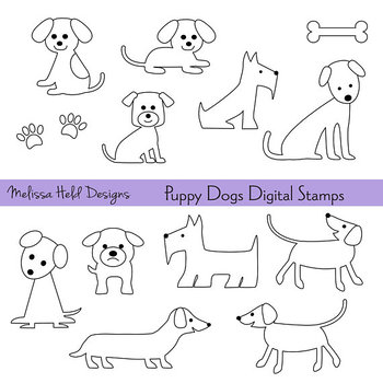Clipart: Dogs Color Your Own Clipart