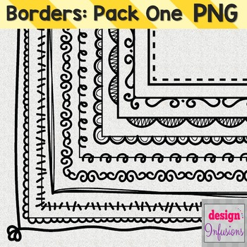 Clipart: Doodle Borders Pack 1