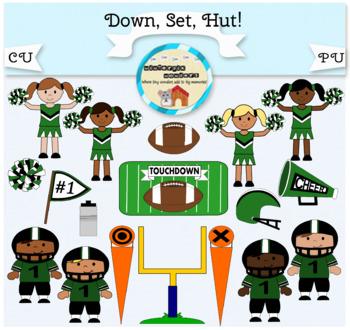 Clipart: Down. Set. Hut! Football - football player - chee
