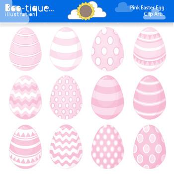 Clipart- Easter Eggs Digital Clip Art. Pink Easter Eggs Clipart.