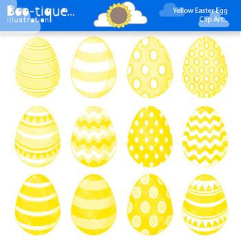 Clipart- Easter Eggs Digital Clip Art. Yellow Easter Eggs