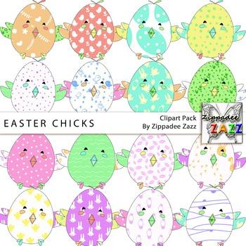 Clipart - Easter / Spring Patchwork Chicks - 16 PNG transp