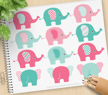 Clipart - Elephants (Pink and Blue)