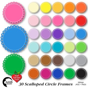 Clipart, Fancy scalloped frames, round labels, commercial