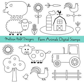Clipart: Farm Color Your Own Clipart