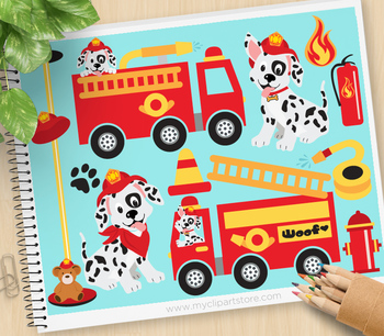 Clipart - Transportation - Fire Trucks / Fire and Rescue /