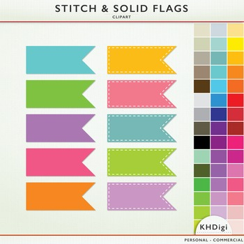 Clipart Flags - Solid & Stitched  - 90 flags included