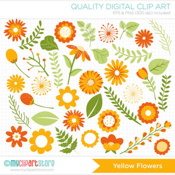 Clipart - Autumn / Fall Flower Collection (Yellow Orange)