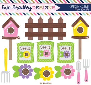 Clipart - Flower Garden with Fence Seeds & Birdhouses