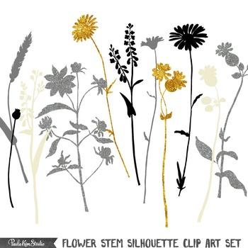 Clipart - Flower Stem Silhouettes