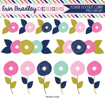 Clipart - Flowers Doodles Pink Gold and Blue Floral Digita