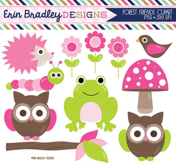 Clipart - Forest Animals Nature Clipart in Pink & Green