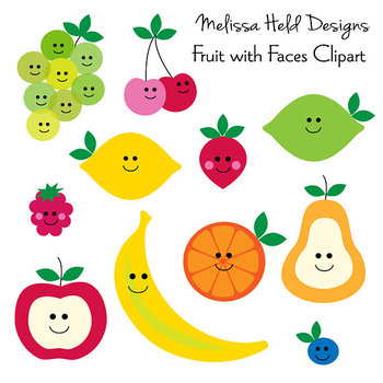 Clipart: Fruit With Faces Clip Art