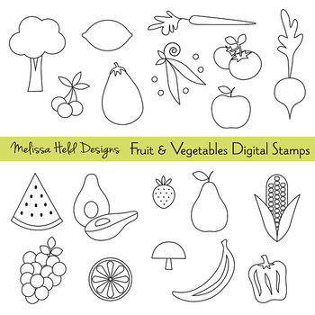 Clipart: Fruit and Vegetable Color Your Own Clipart
