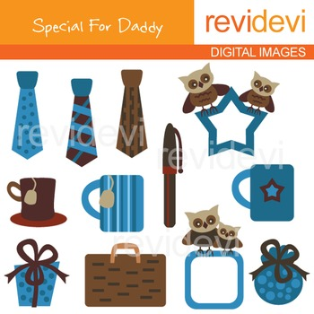 Father's day clip art: Clipart Gift for Men - Brown and Bl
