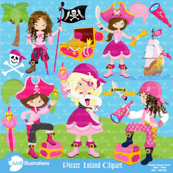 Clipart, Girls Pirate Island Clip art, Digital Scrapbookin