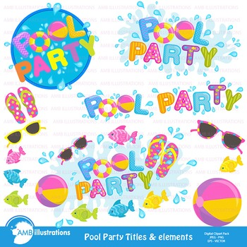 Clipart, Pool party titles and embellishments, Party Clipa