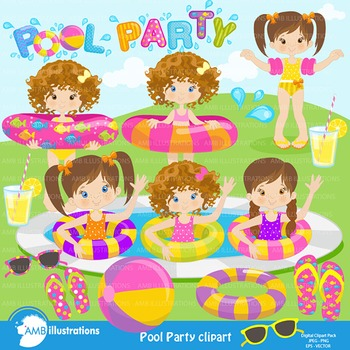 Clipart, Girls Pool party, Party Clipart, Digital Download