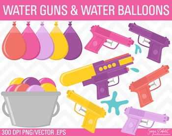 Clip Art: Girls Water Guns and Water Balloons Summer Clip Art