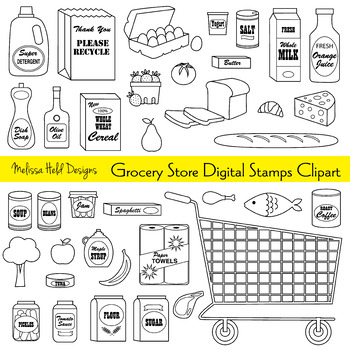 Clipart: Grocery Store Color Your Own Clip Art
