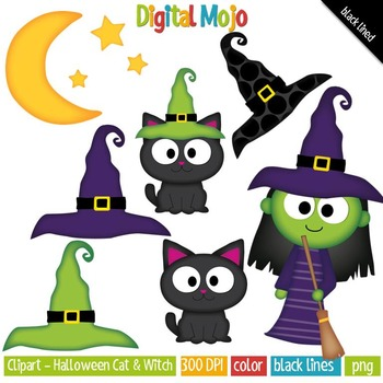 Clipart - Halloween Cat, Witch, Moon and Stars