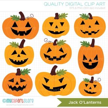 Clipart - Halloween Jack O' Lanterns