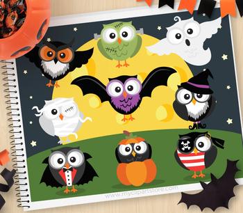 Clipart - Halloween Owls