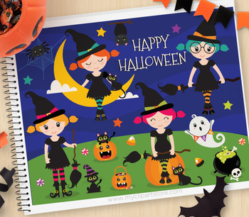 Clipart - Halloween Witches / Cute witch clipart