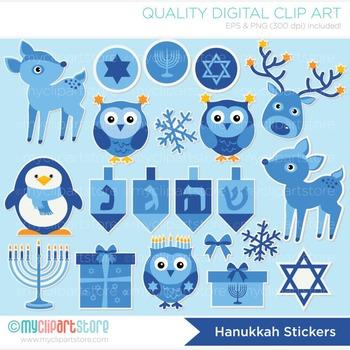 Clipart - Hanukkah Stickers / Animals / Jewish Holiday / M