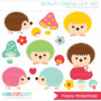 Clipart - Happy Hedgehogs