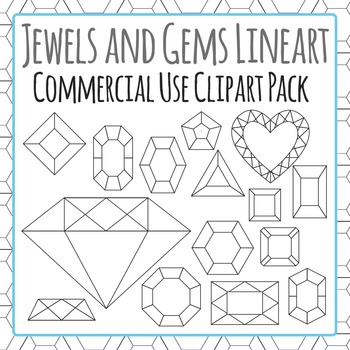 Jewels Black and White Clipart - Commercial Use Clip Art Pack