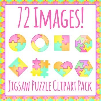 Jigsaw Puzzle Shapes / Fractions / Pieces / Sections Clip