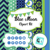 Clipart Kit: Papers, Social Icons, Labels, Bunting, Blue, Green