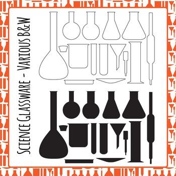 Science Laboratory Glassware Black and White Line Art Set