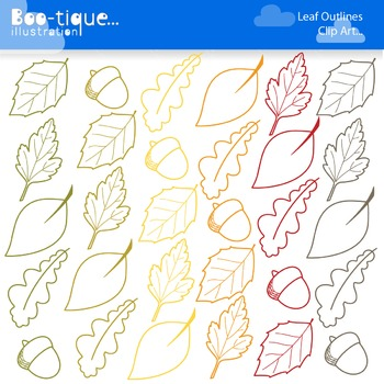 Clipart: Leaf Outlines Clipart. Leaf Line Art. Fall, Leave