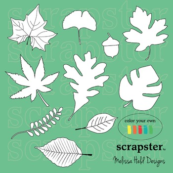 Clipart: Leaves Color Your Own Clip Art