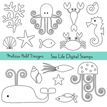 Clipart:Sea Life Color Your Own Clip Art
