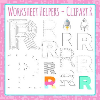 Letter R Worksheet Helper Clip Art Set For Commercial Use