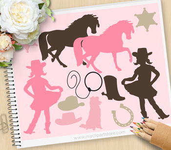 Clipart - Little Cowgirl Silhouettes / wild west / western